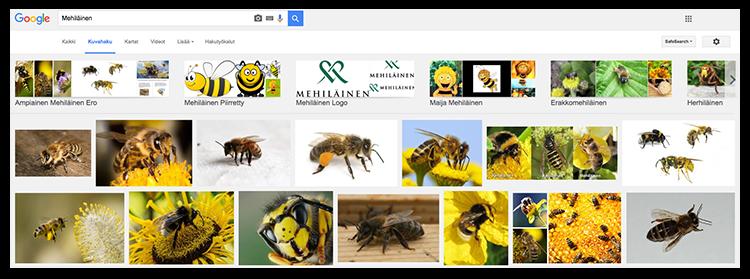 Google-haku mehiläisistä näyttää sekä hyönteisiä että firman.