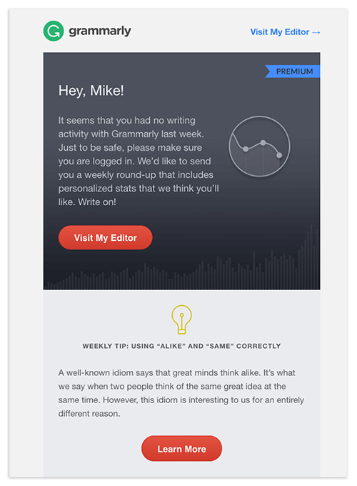 A personalized email by Grammarly using a person's first name in the body of the email